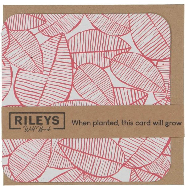 Leaf Pattern Plain Cards Red