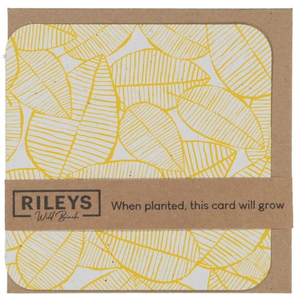 Leaf Pattern Plain Cards Yellow