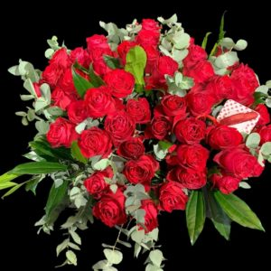 50, red, roses